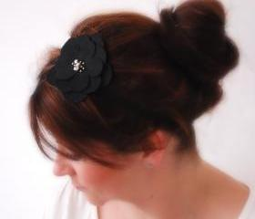 Elegant BLACK Flower with beads on a thin black elastic band Faux Suede Look Feminine