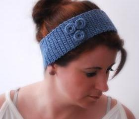 Crocheted Blue Grey Headband Earwarmer with Ring Flower Fashion Accessories