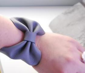 Cool Grey Leather Bow Bracelet Leather Wrist Cuff Jewelry